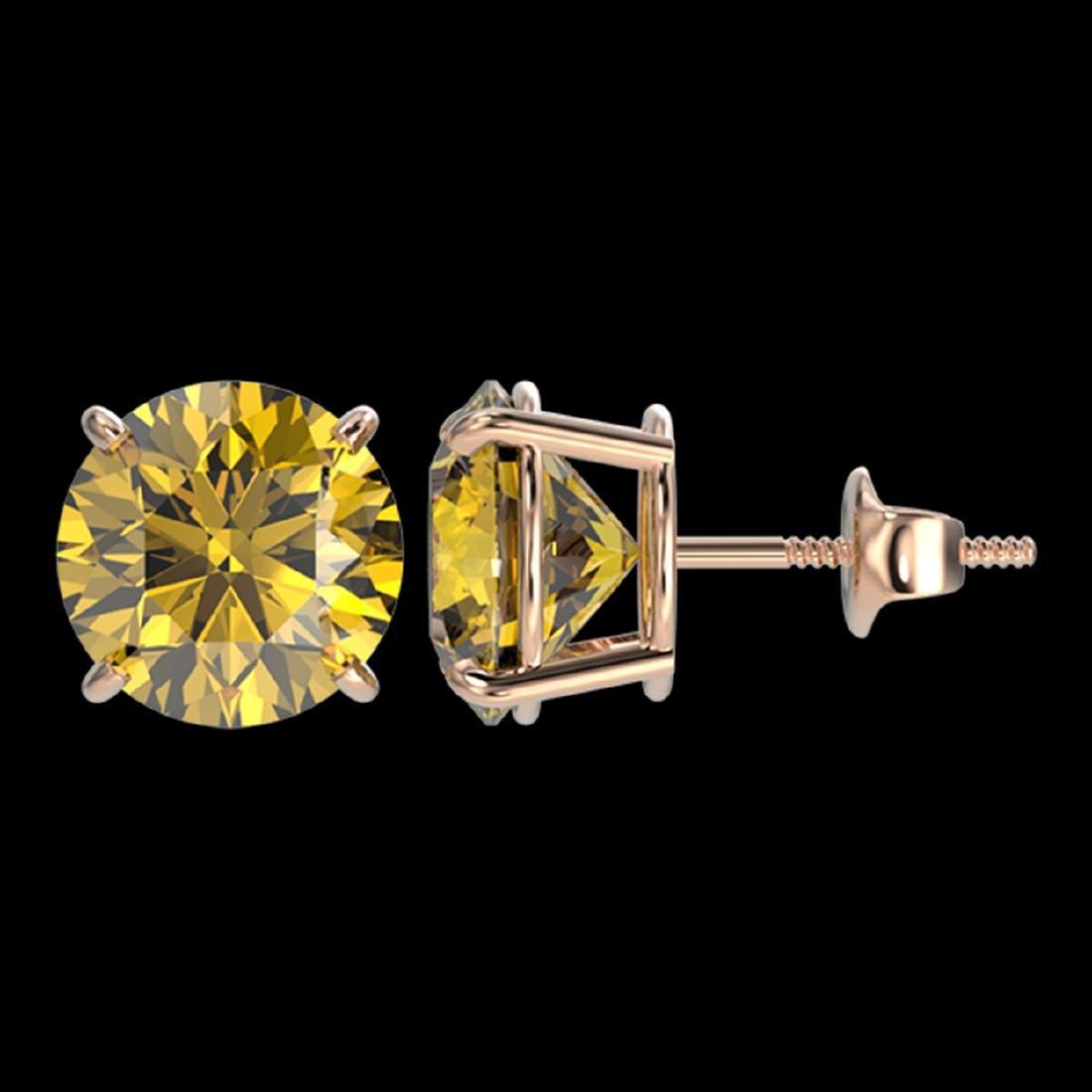 4 ctw Intense Yellow Diamond Stud Earrings 10K Rose - 2
