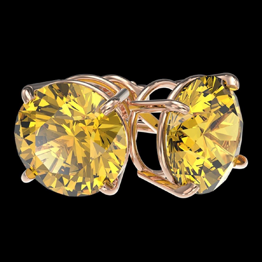 4 ctw Intense Yellow Diamond Stud Earrings 10K Rose - 3