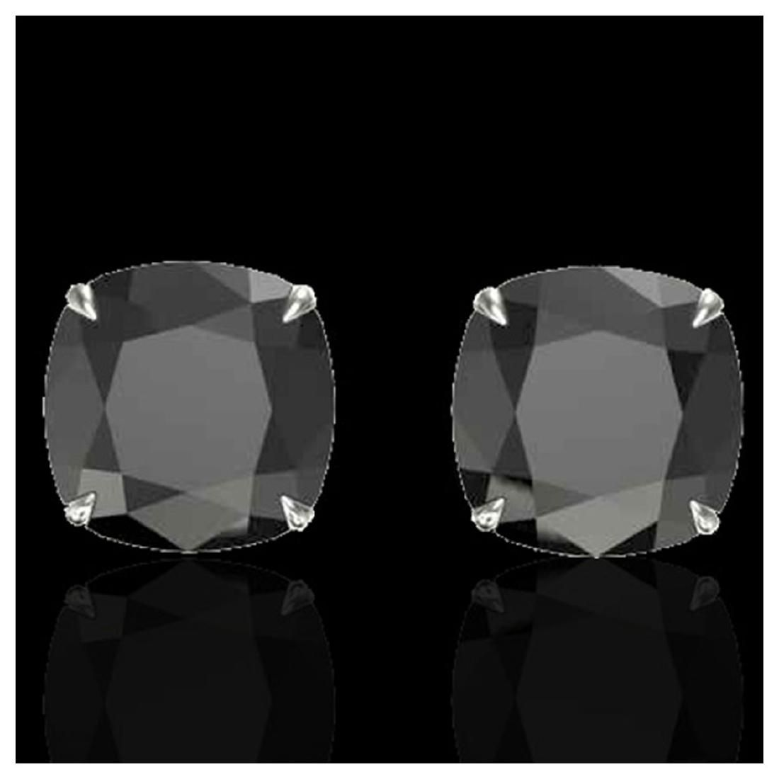 12 ctw Cushion Black VS/SI Diamond Earrings 18K White