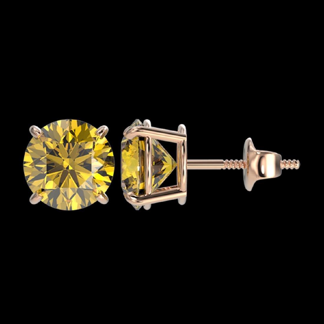 2.50 ctw Intense Yellow Diamond Stud Earrings 10K Rose - 2