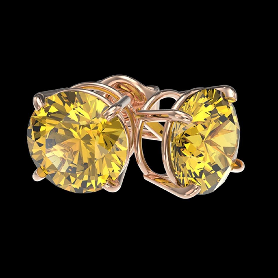 2.50 ctw Intense Yellow Diamond Stud Earrings 10K Rose - 3