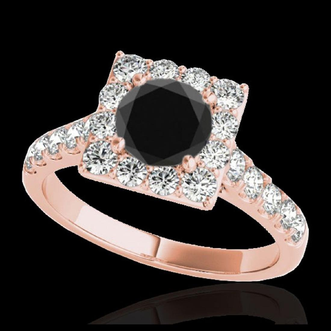 2.5 ctw VS Black Diamond Solitaire Halo Ring 10K Rose