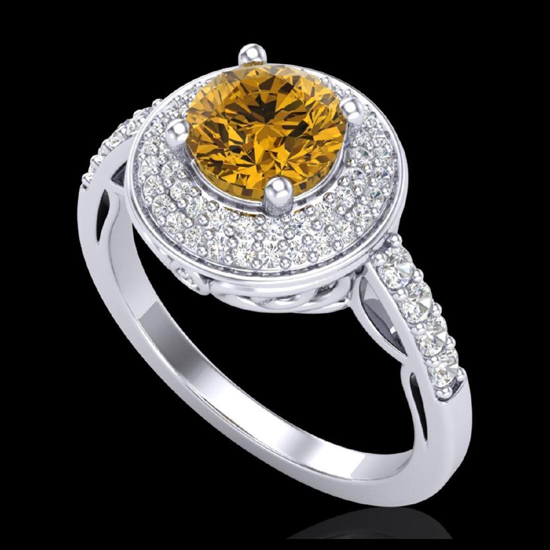 1.70 ctw Intense Fancy Yellow Diamond Art Deco Ring 18K