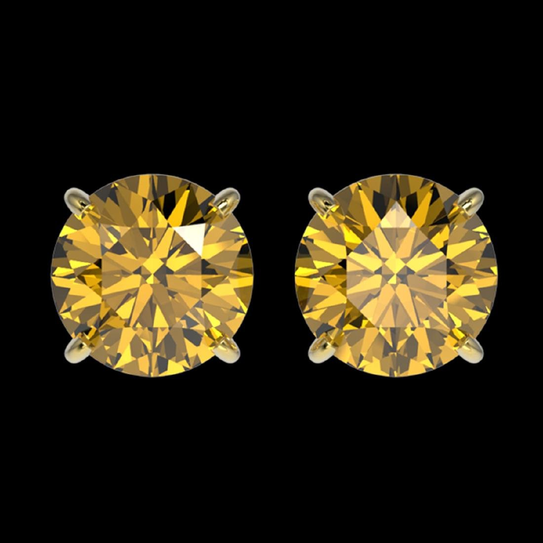 1.97 ctw Intense Yellow Diamond Stud Earrings 10K