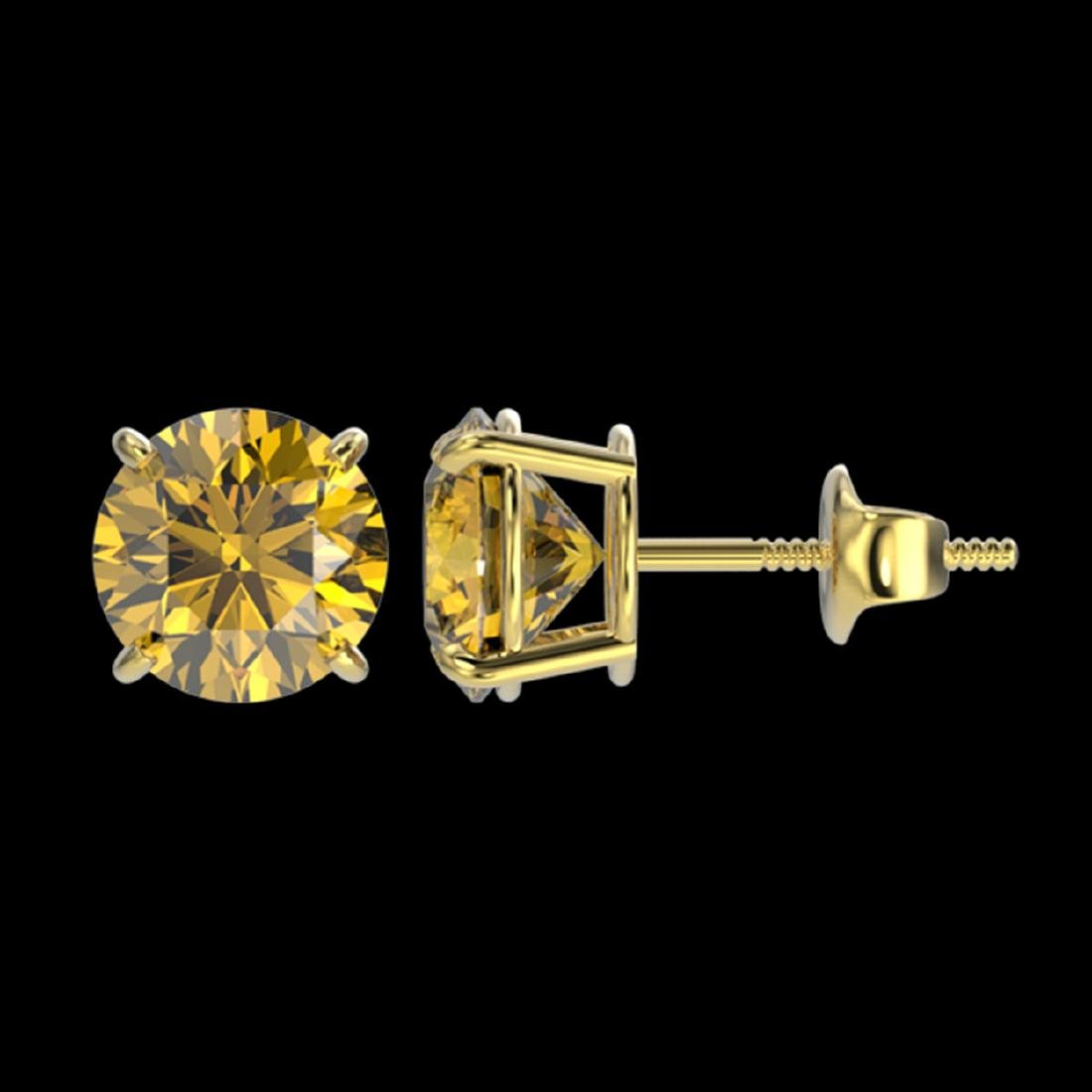 1.97 ctw Intense Yellow Diamond Stud Earrings 10K - 2