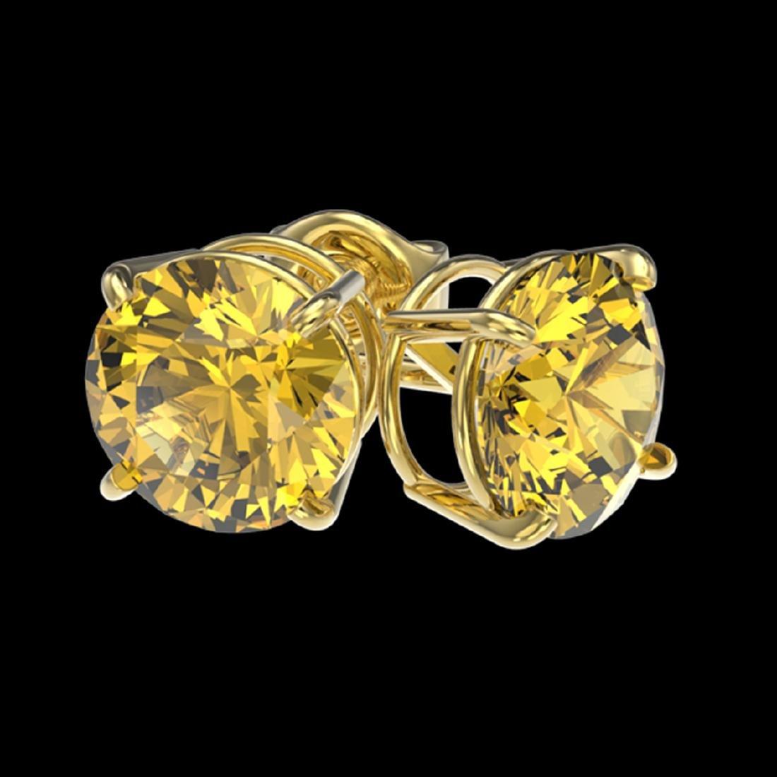 1.97 ctw Intense Yellow Diamond Stud Earrings 10K - 3