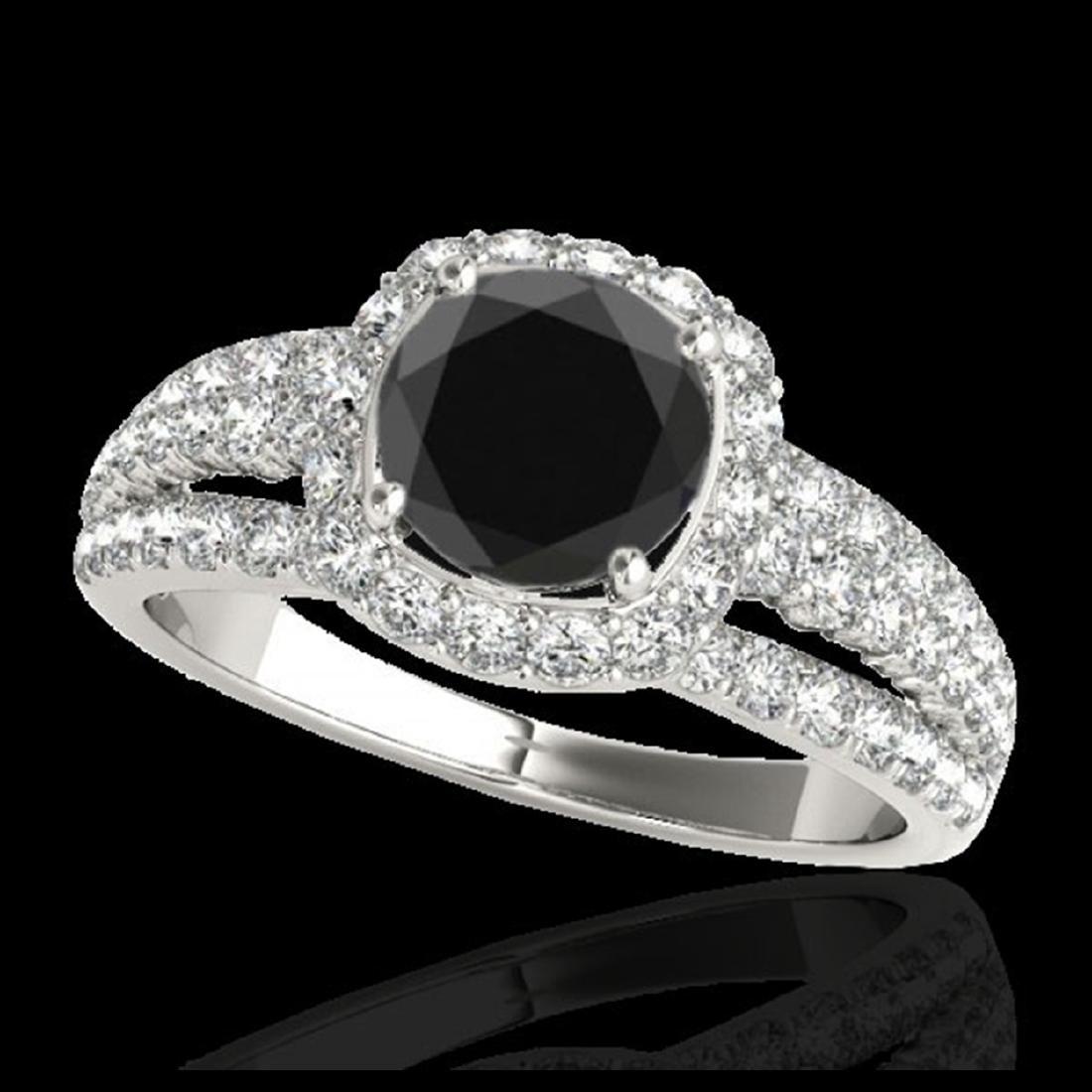 2.25 ctw VS Black Diamond Solitaire Halo Ring 10K White