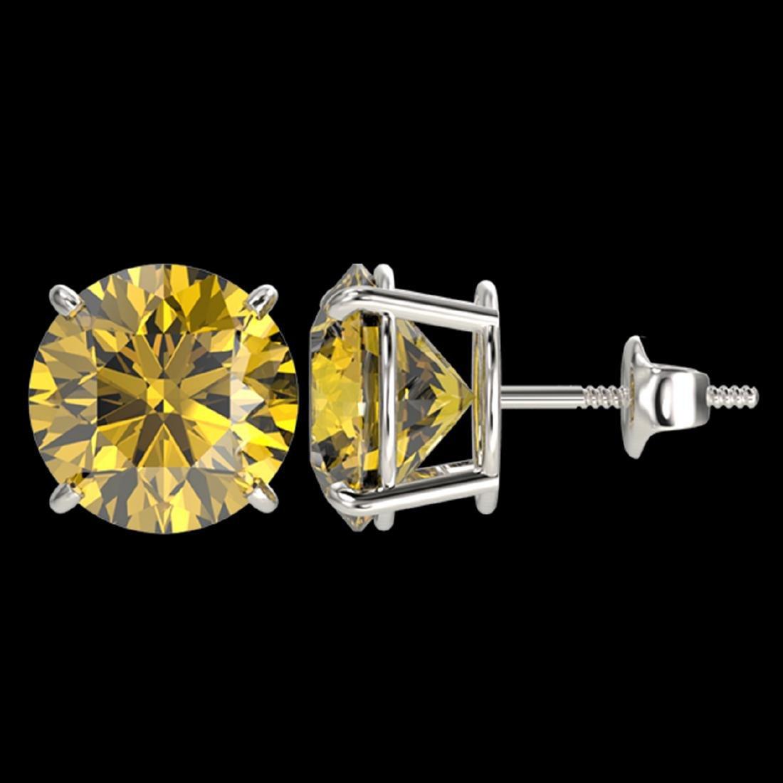5 ctw Intense Yellow Diamond Stud Earrings 10K White - 2