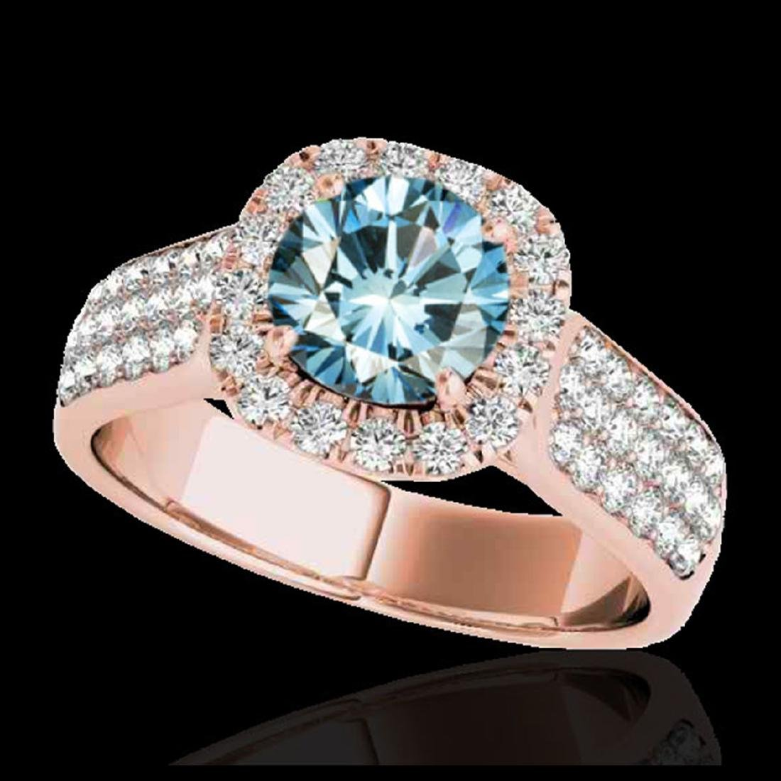 1.80 ctw SI Fancy Blue Diamond Solitaire Halo Ring 10K