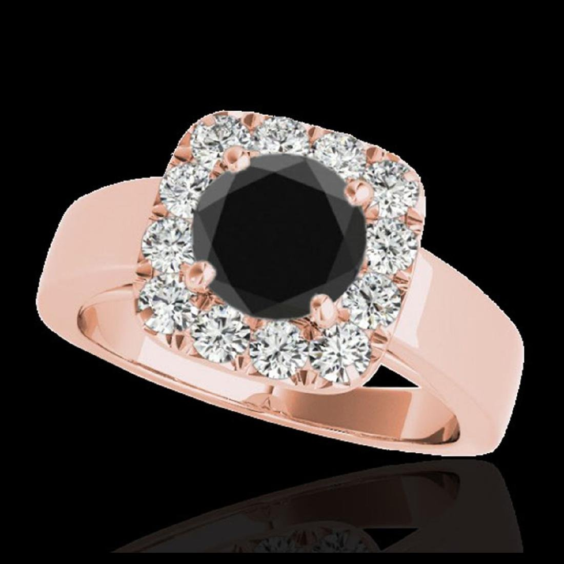 1.55 ctw VS Black Diamond Solitaire Halo Ring 10K Rose