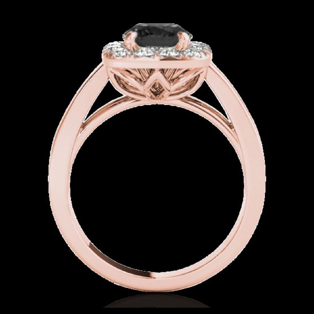 1.55 ctw VS Black Diamond Solitaire Halo Ring 10K Rose - 2