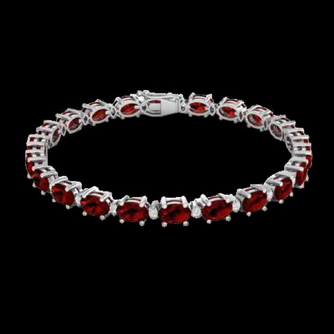 25.8 ctw Garnet & VS/SI Diamond Eternity Bracelet 10K - 2