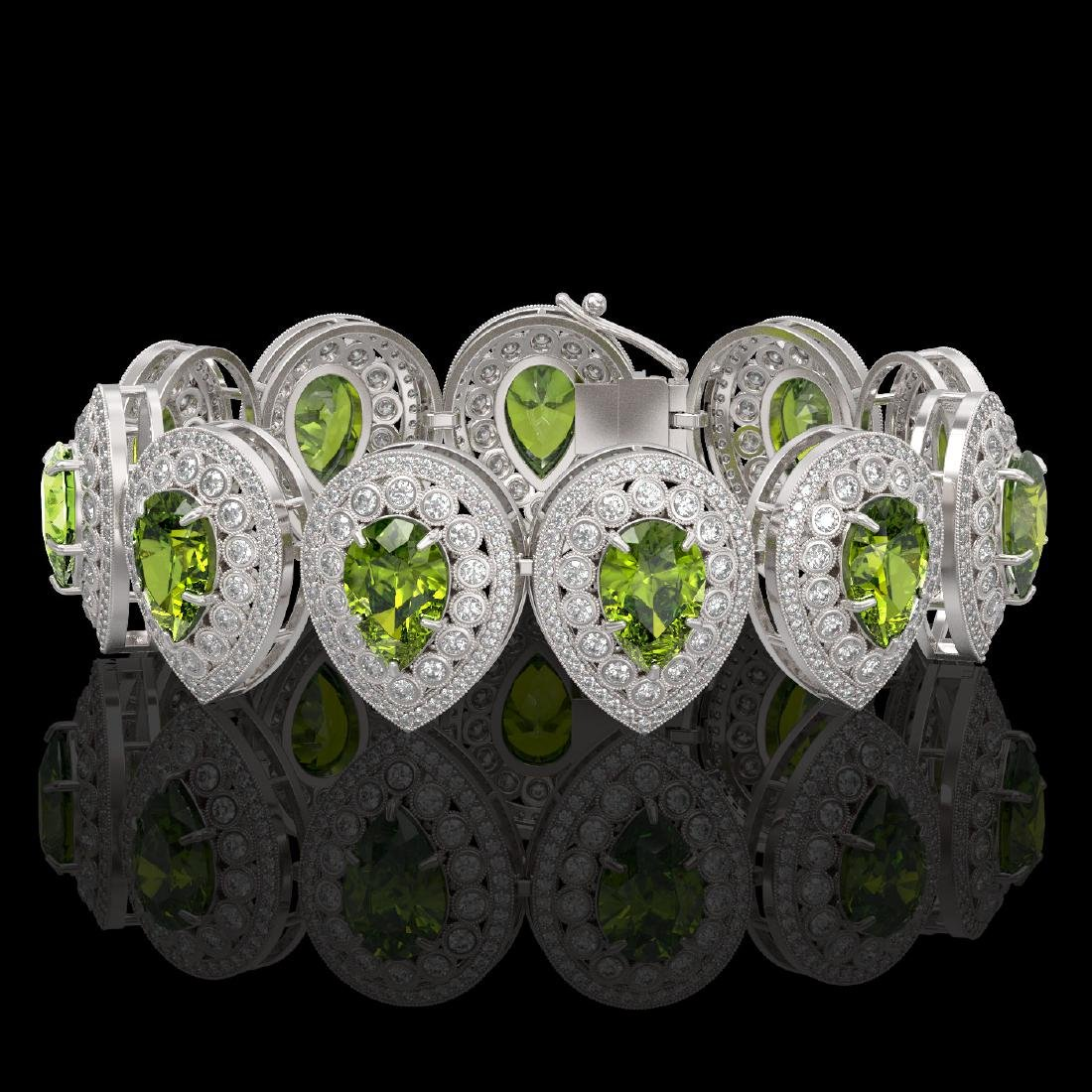 57.24 ctw Tourmaline & Diamond Bracelet 14K White Gold