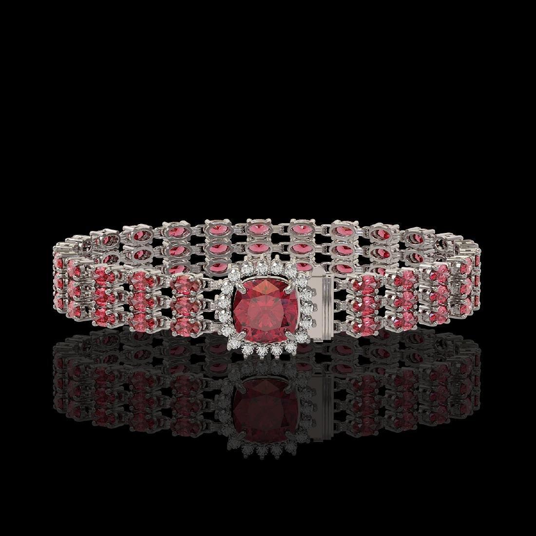 28.56 ctw Tourmaline & Diamond Bracelet 14K White Gold