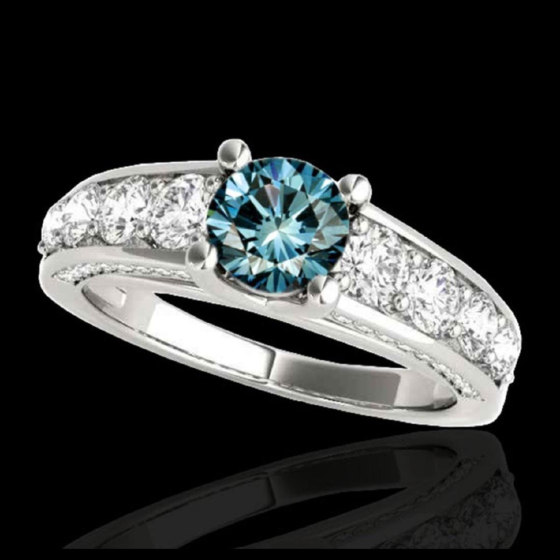 2.55 ctw SI Fancy Blue Diamond Solitaire Ring 10K White