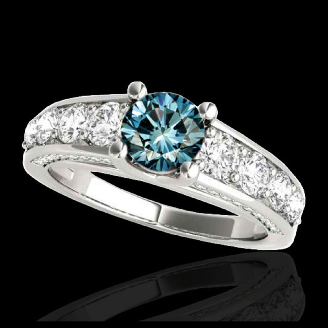 3.05 ctw SI Fancy Blue Diamond Solitaire Ring 10K White