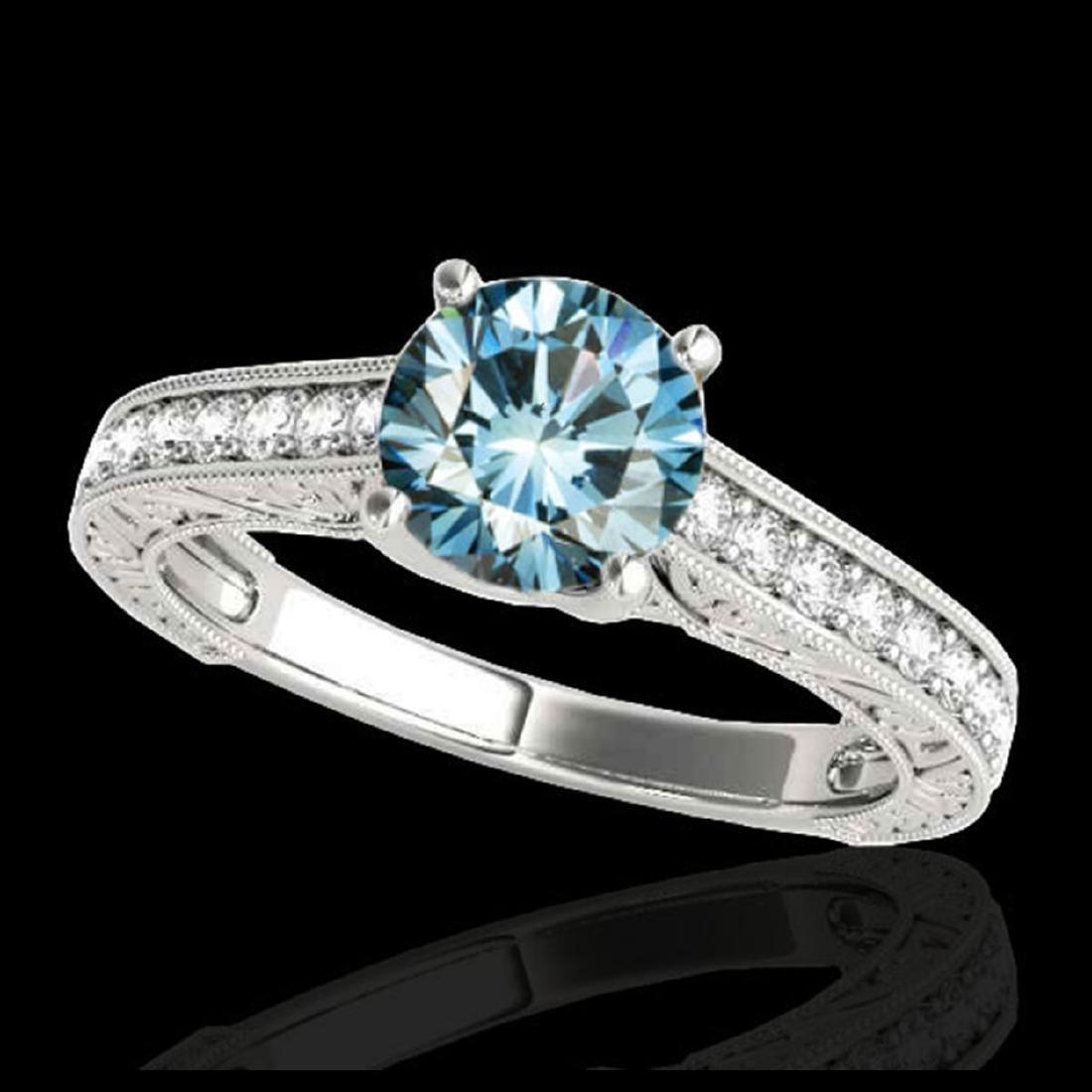 1.82 ctw SI Fancy Blue Diamond Solitaire Ring 10K White