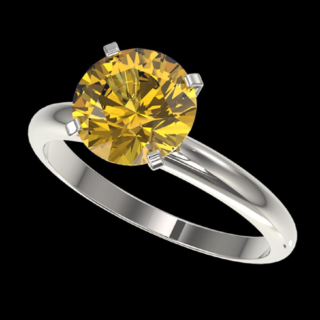 2.50 ctw Intense Yellow Diamond Solitaire Ring 10K