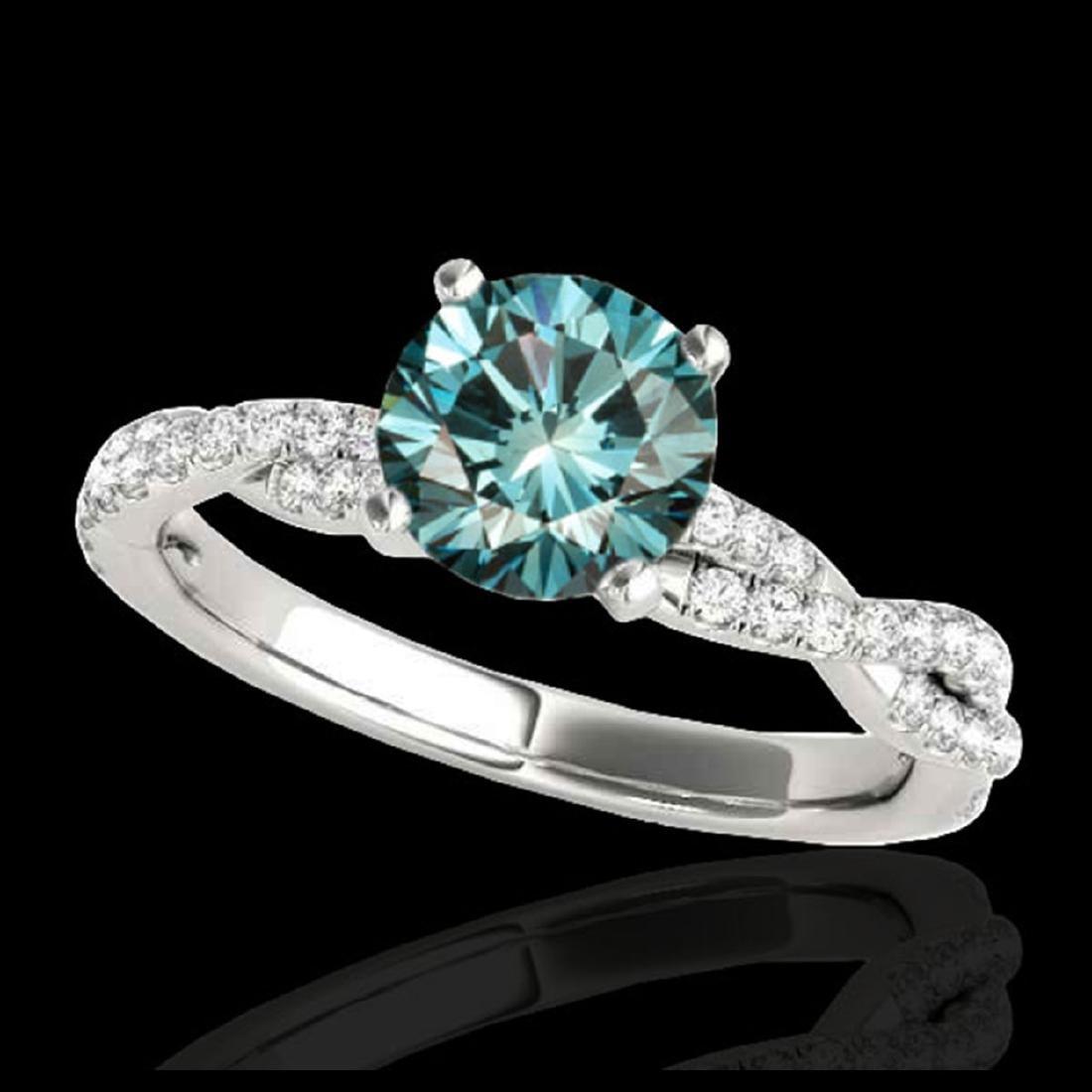 1.25 ctw SI Fancy Blue Diamond Solitaire Ring 10K White