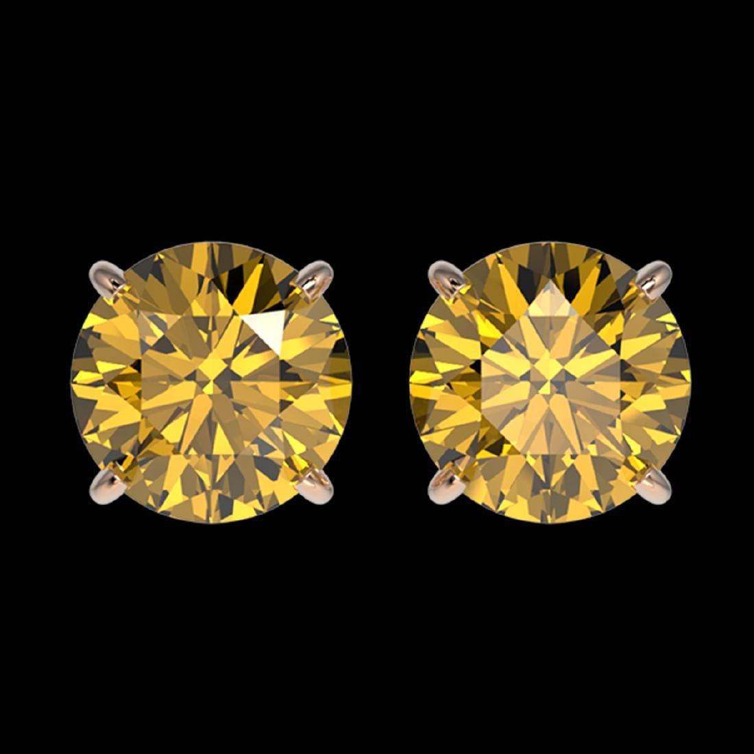 2.11 ctw Intense Yellow Diamond Stud Earrings 10K Rose