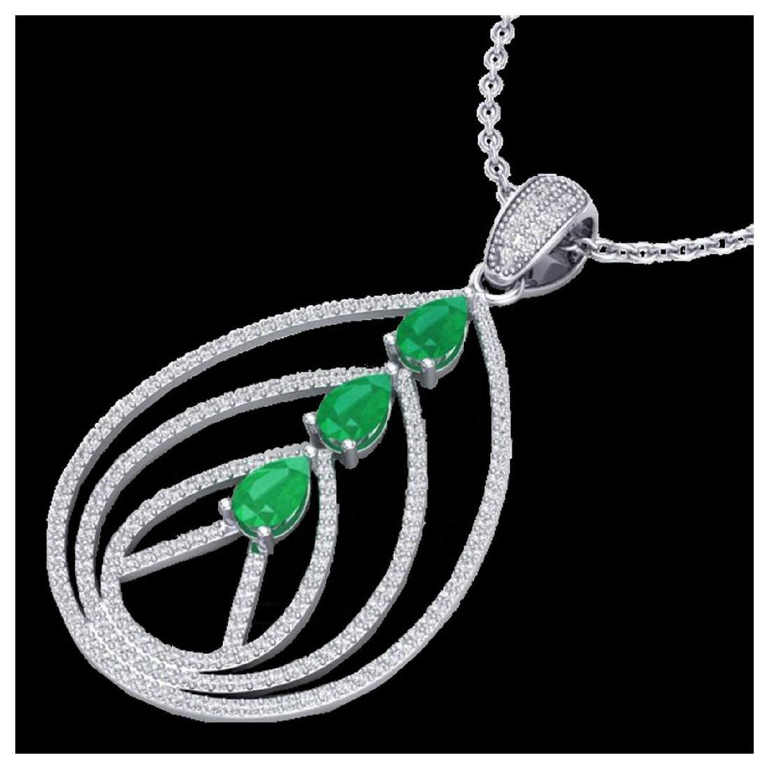 2 ctw Emerald & VS/SI Diamond Necklace 18K White Gold -