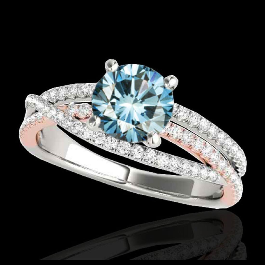 1.40 ctw SI Fancy Blue Diamond Solitaire Ring 10K White