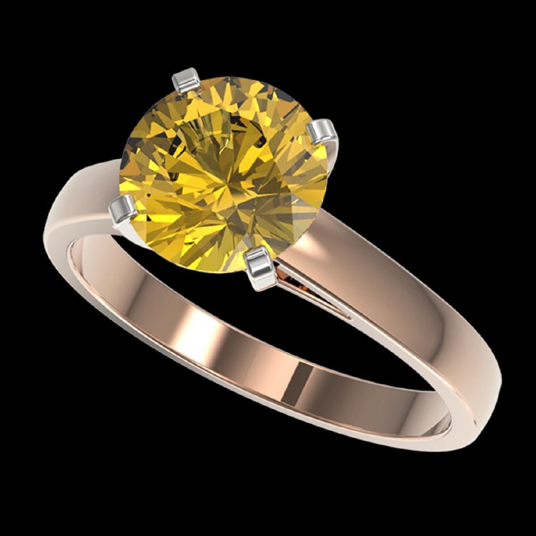 2.50 ctw Intense Yellow Diamond Solitaire Ring 10K Rose