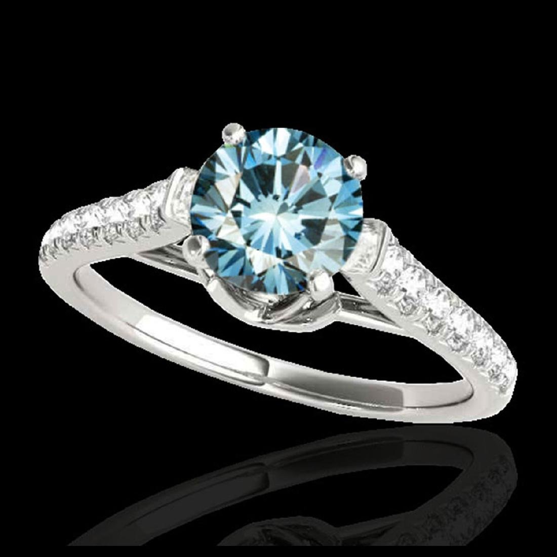 1.46 ctw SI Fancy Blue Diamond Solitaire Ring 10K White