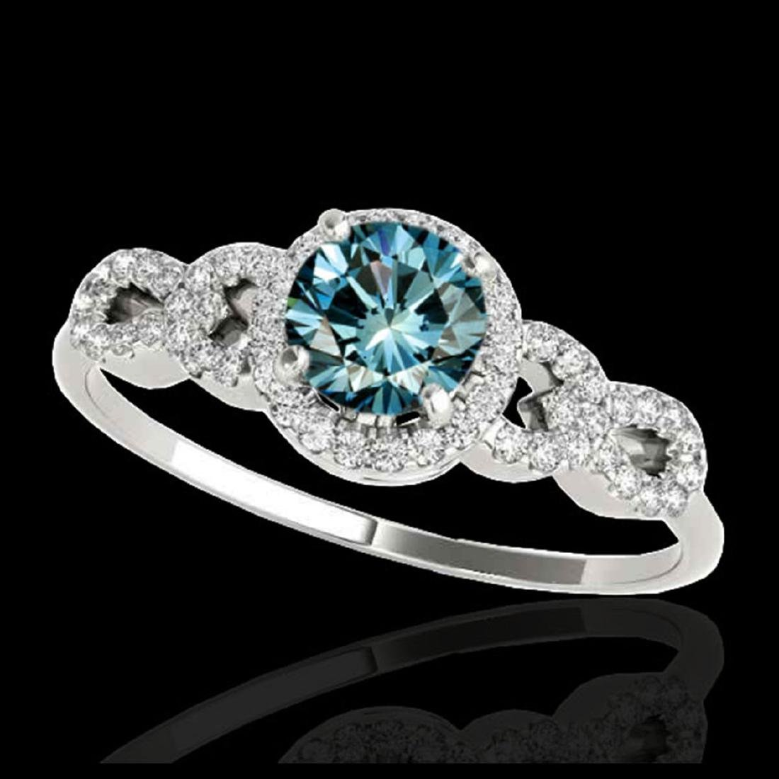 1.33 ctw SI Fancy Blue Diamond Solitaire Ring 10K White