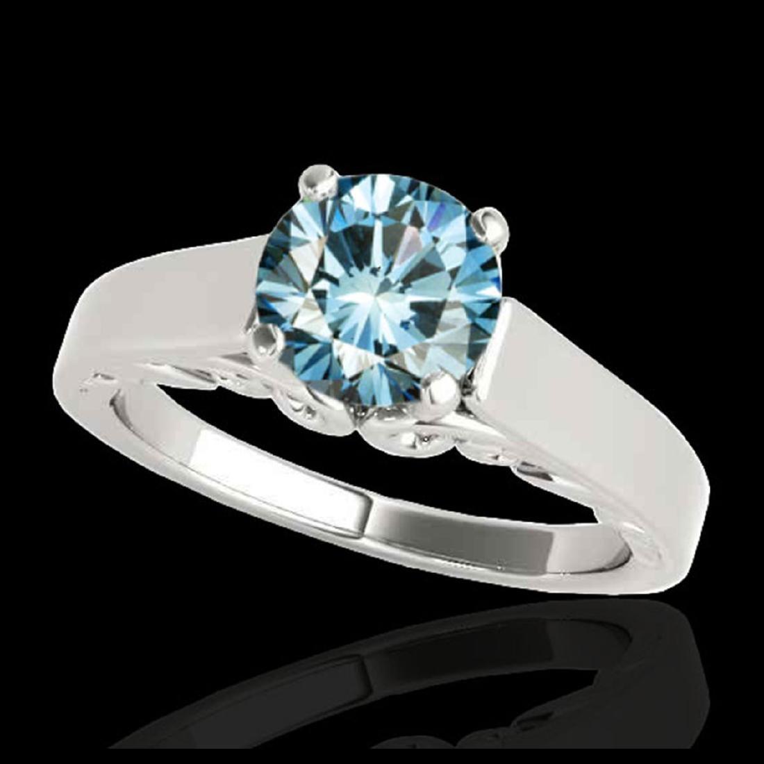 1 ctw SI Fancy Blue Diamond Solitaire Ring 10K White