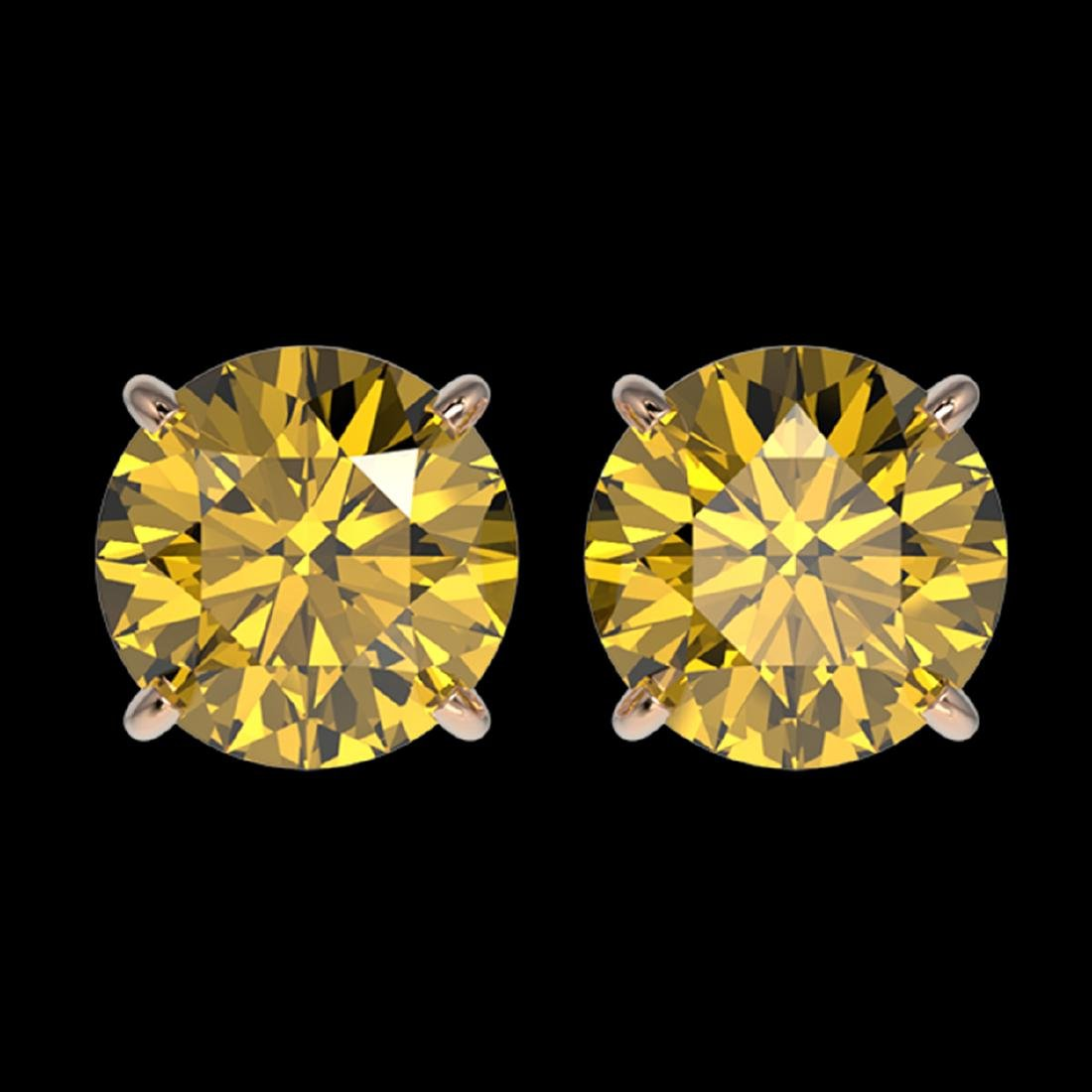 2.57 ctw Intense Yellow Diamond Stud Earrings 10K Rose