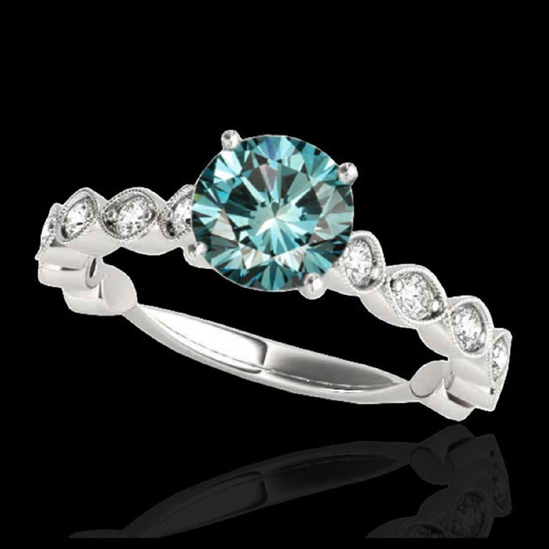 1.75 ctw SI Fancy Blue Diamond Solitaire Ring 10K White
