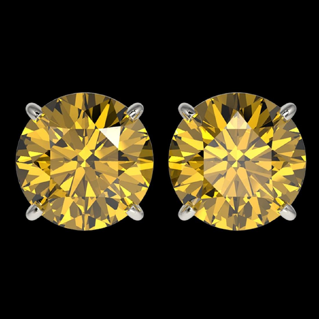 4 ctw Intense Yellow Diamond Stud Earrings 10K White