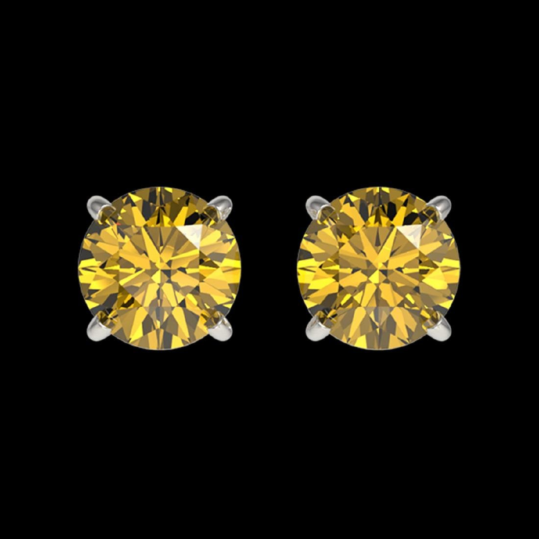 1.04 ctw Intense Yellow Diamond Stud Earrings 10K White