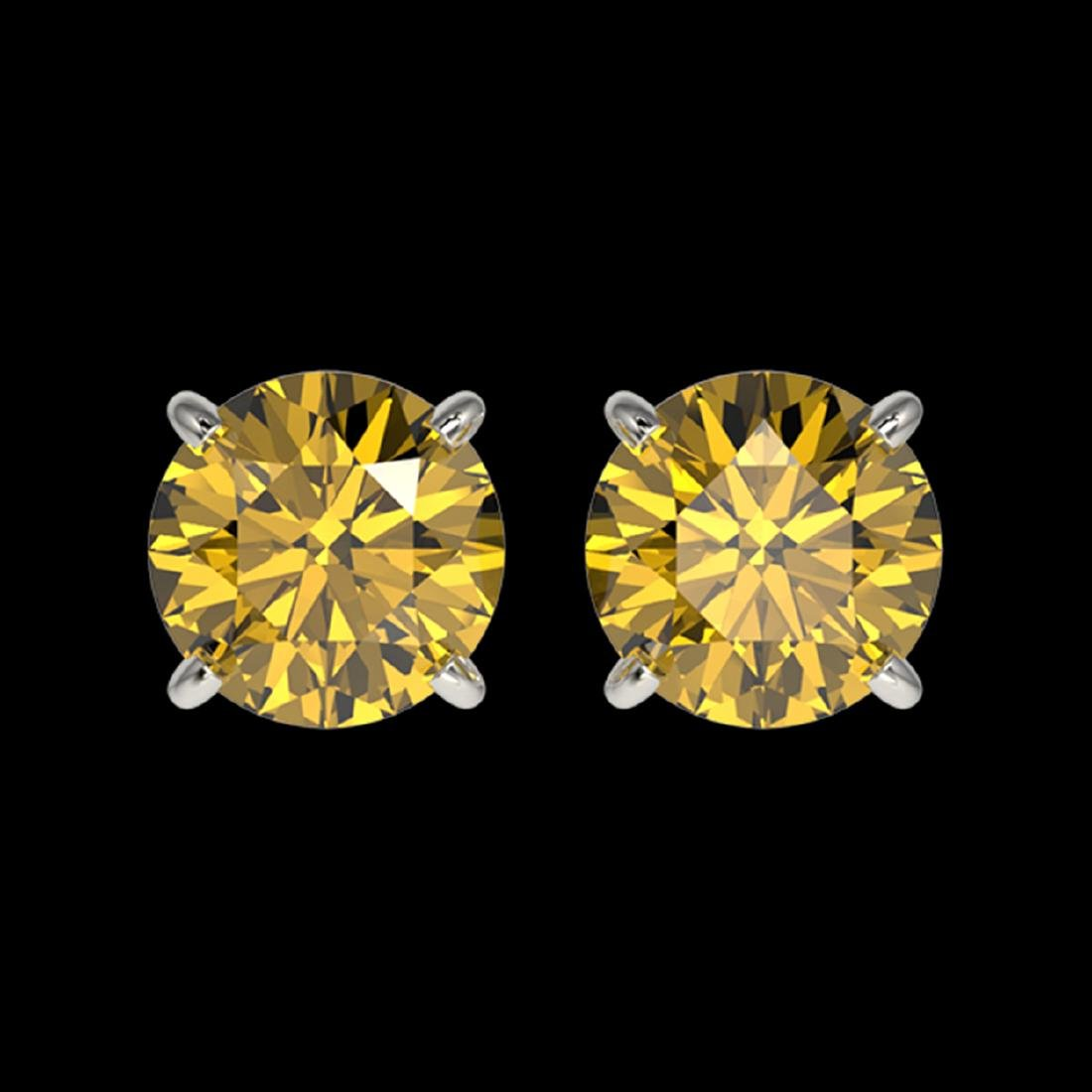 1.50 ctw Intense Yellow Diamond Stud Earrings 10K White