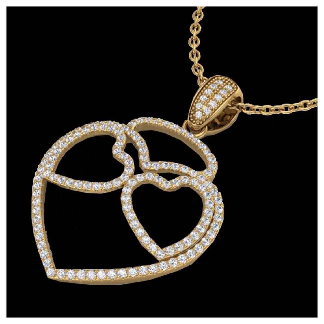 1.20 ctw VS/SI Diamond Heart Necklace 14K Yellow Gold -
