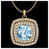 208 ctw Sky Blue Topaz  Diamond Necklace 18K Yellow