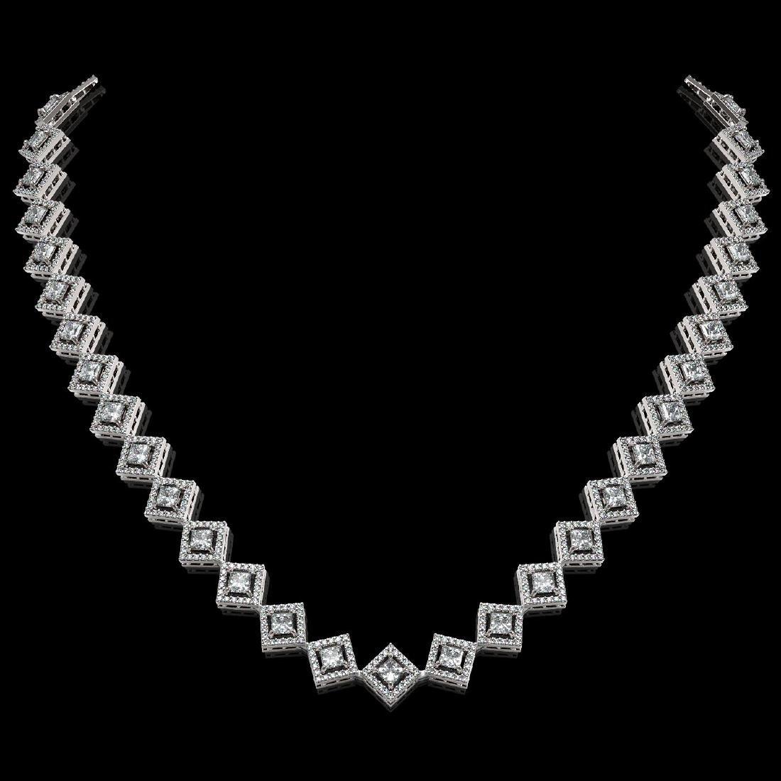16.4 ctw Princess Diamond Necklace 18K White Gold -
