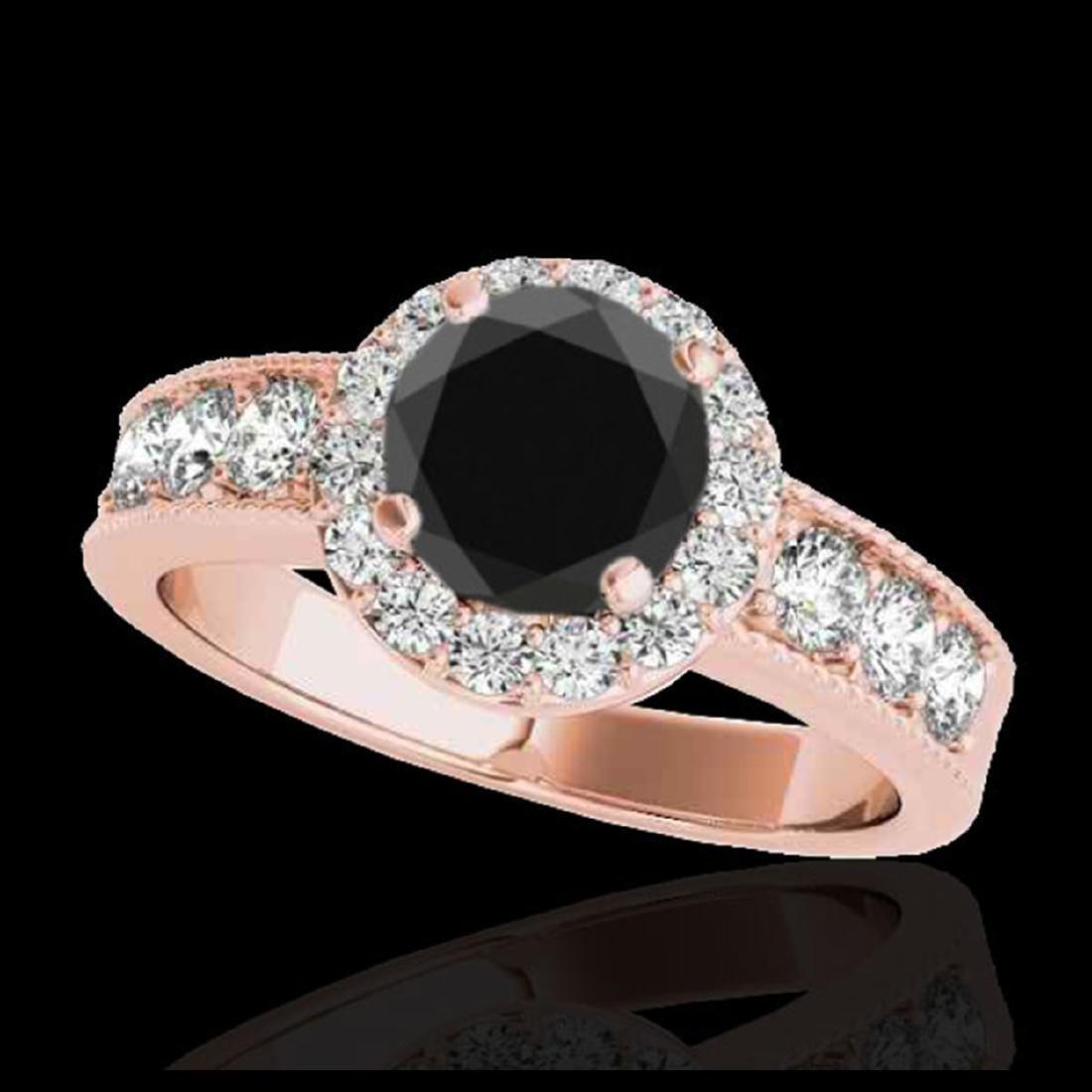 2.1 ctw VS Black Diamond Solitaire Halo Ring 10K Rose