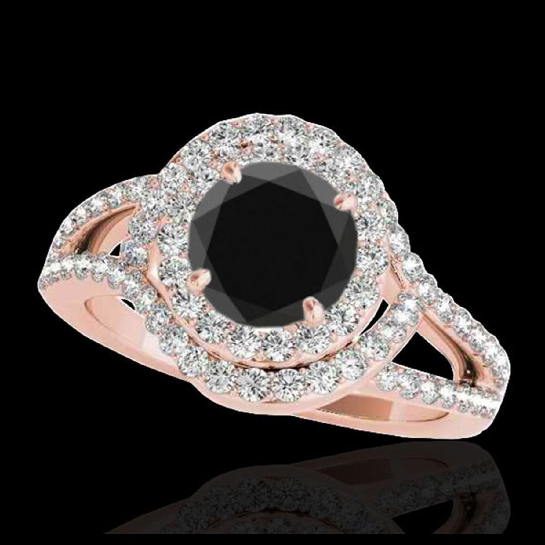 2.15 ctw VS Black Diamond Solitaire Halo Ring 10K Rose