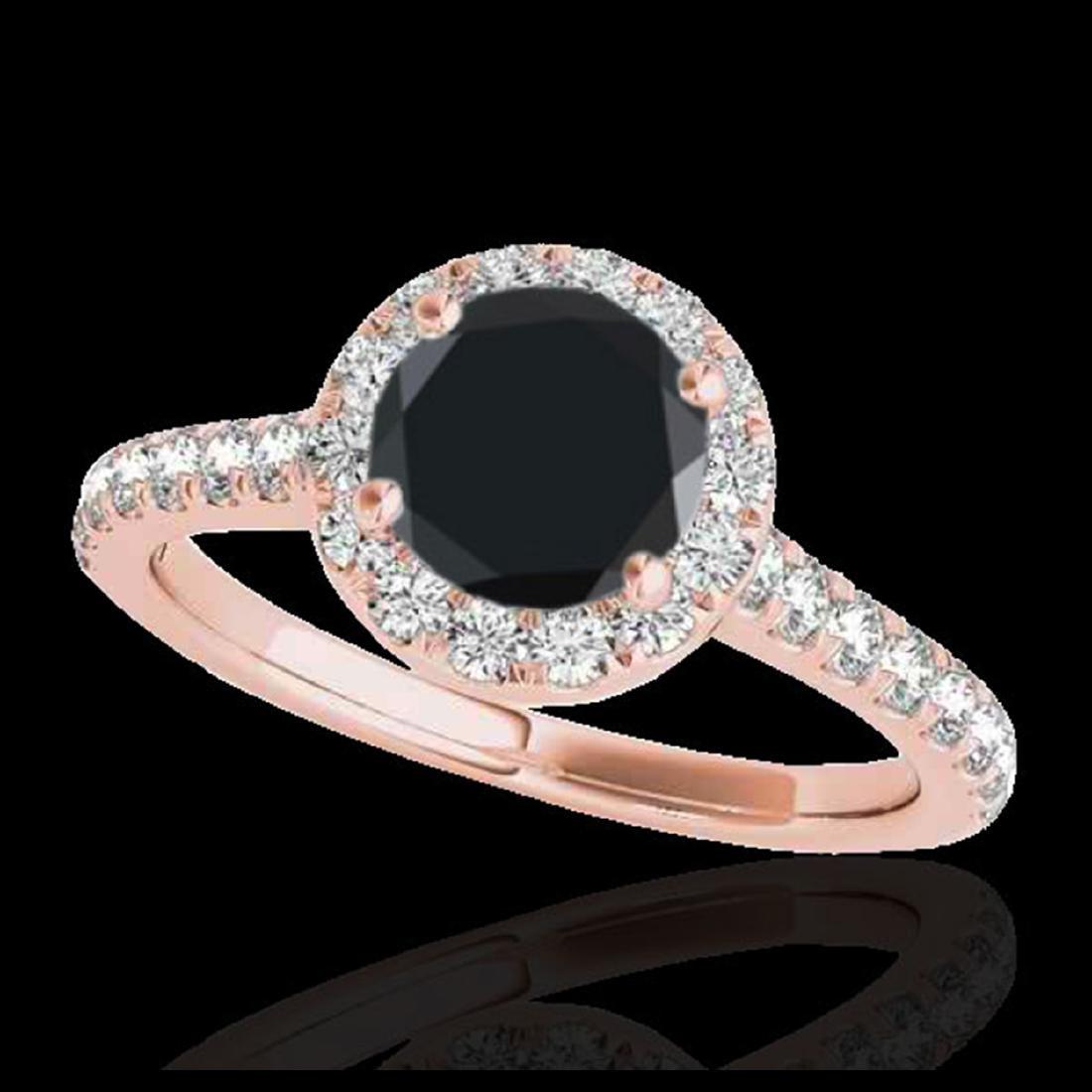 1.70 ctw VS Black Diamond Solitaire Halo Ring 10K Rose