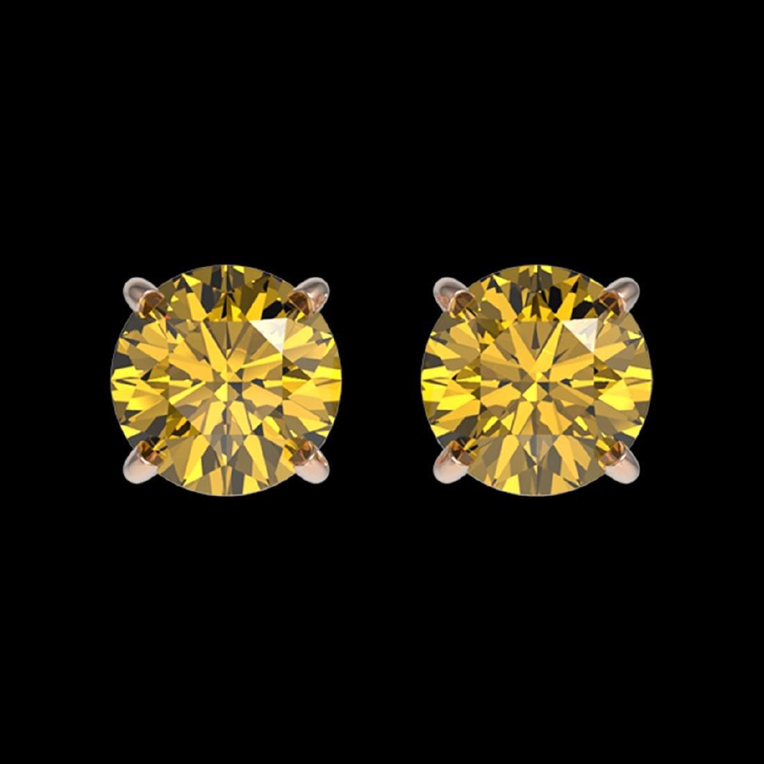 1 ctw Intense Yellow Diamond Stud Earrings 10K Rose