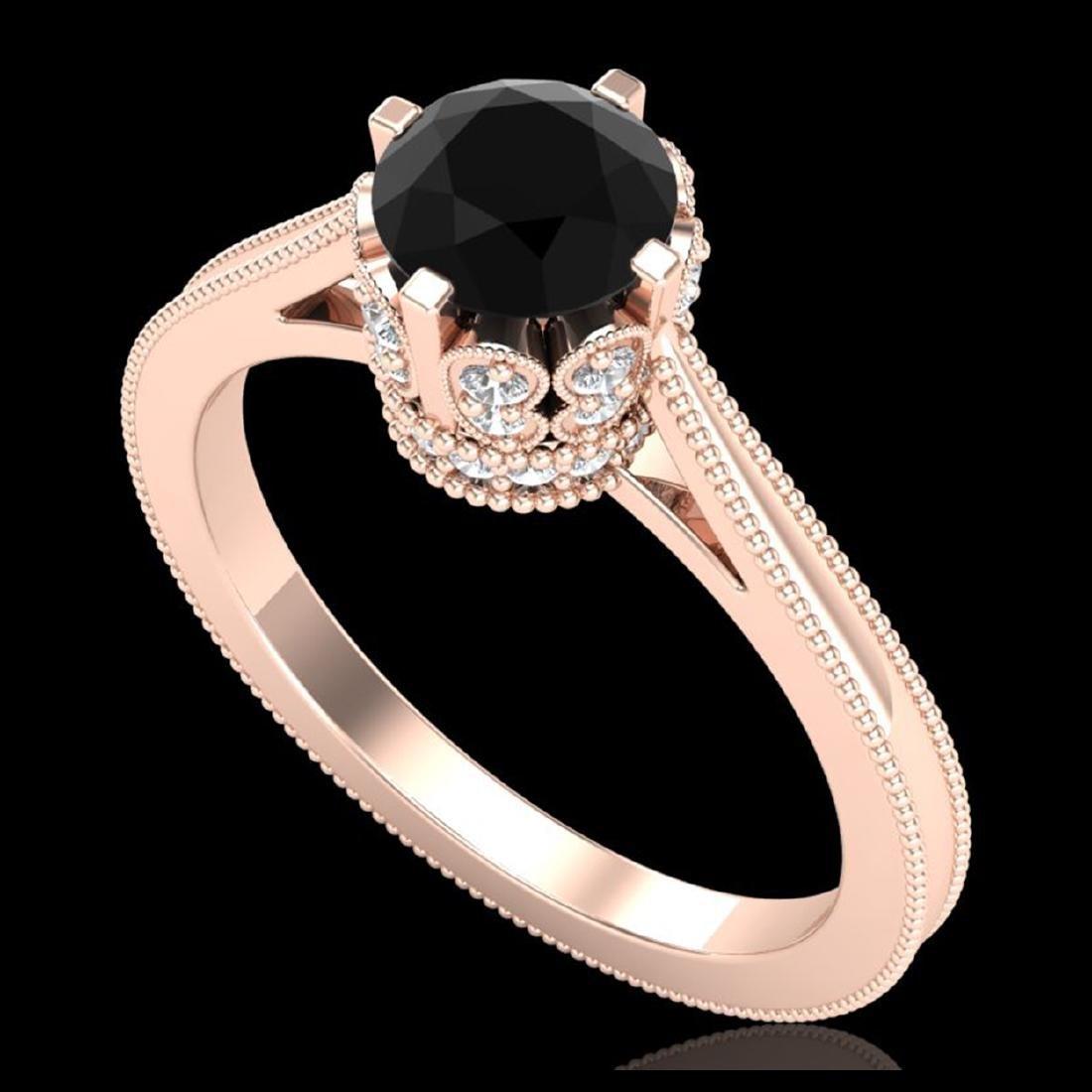 1.14 ctw Fancy Black Diamond Art Deco Ring 18K Rose