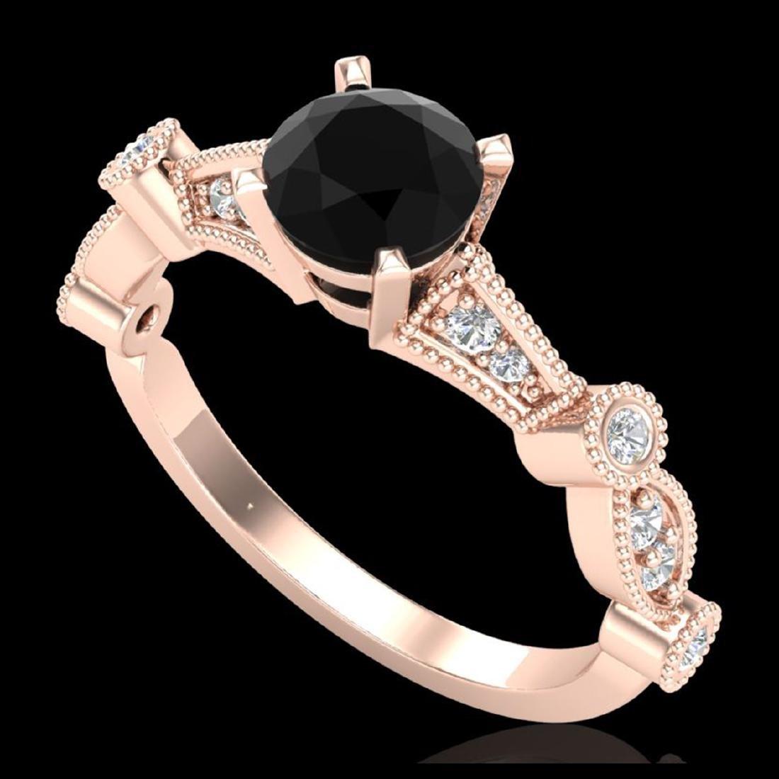 1.03 ctw Fancy Black Diamond Art Deco Ring 18K Rose