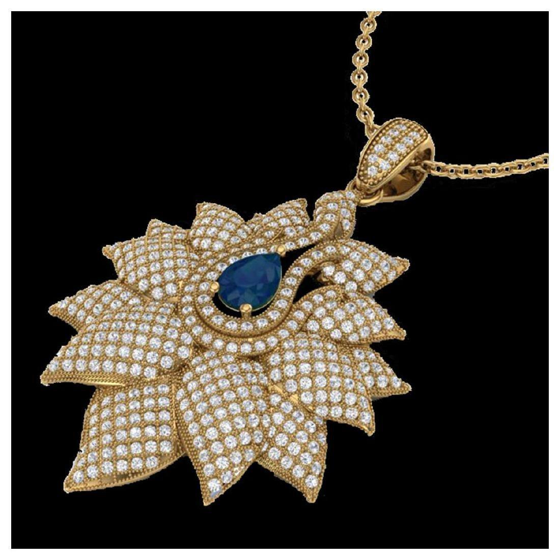 3 ctw Sapphire & VS/SI Diamond Necklace 18K Yellow Gold