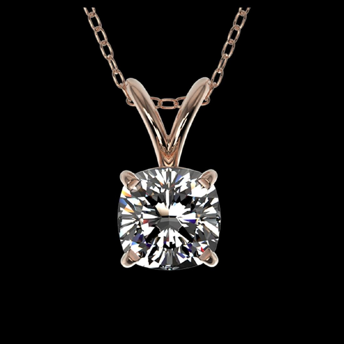 0.50 ctw VS/SI Cushion Diamond Necklace 10K Rose Gold -
