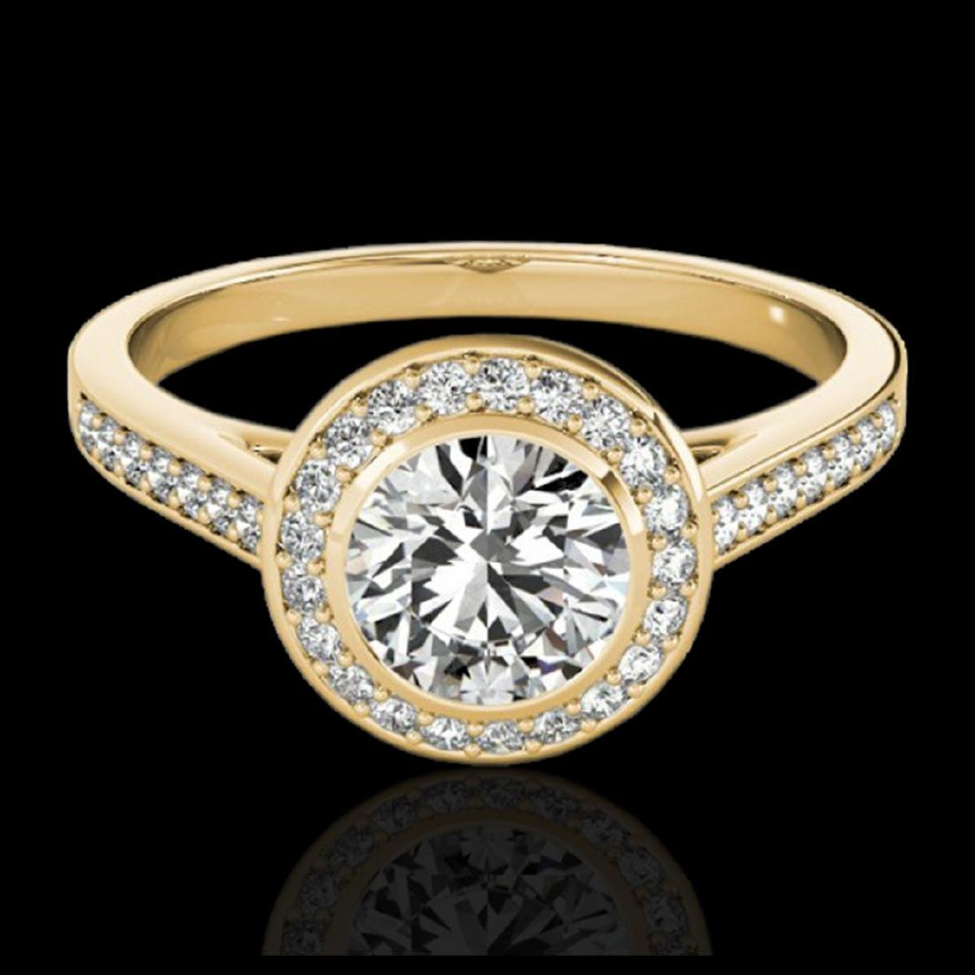 1.30 ctw H-SI/I Diamond Solitaire Halo Ring 10K Yellow