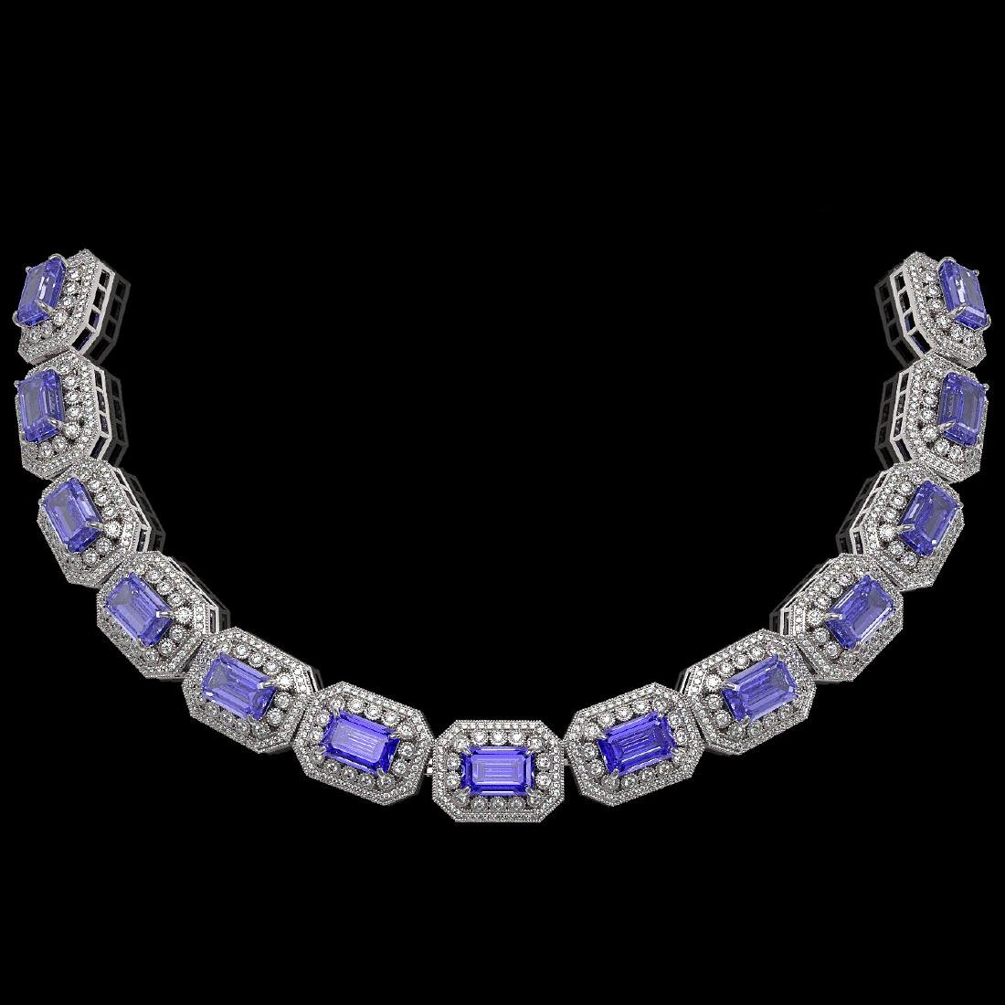 50.67 ctw Tanzanite & Diamond Bracelet 14K White Gold -