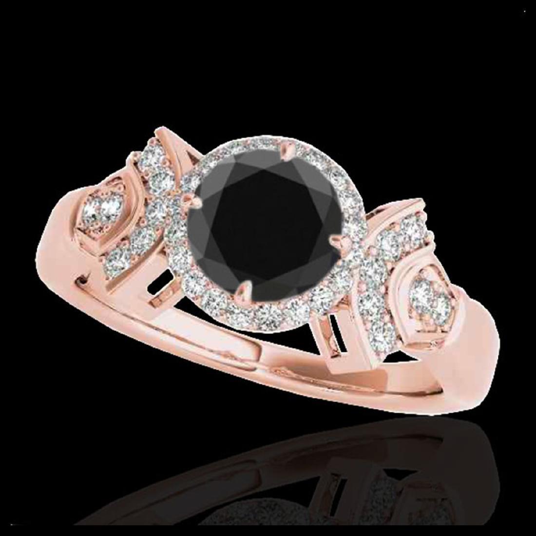 1.56 ctw VS Black Diamond Solitaire Halo Ring 10K Rose