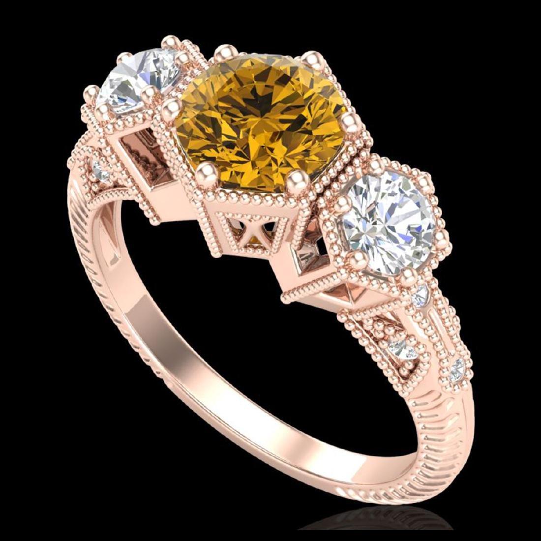 1.66 ctw Intense Fancy Yellow Diamond Art Deco Ring 18K